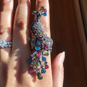 Multicolored peacock ring in one size